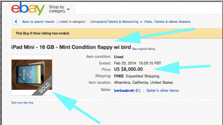 Amazingly, this iPad Mini with Flappy Bird sells for $8K on eBay